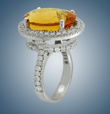 Ring with  diamonds and citrine