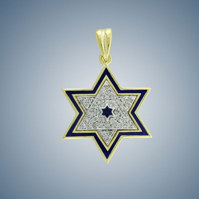 Golden MagenDavid with enamel and diamohds
